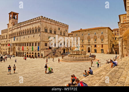 The Fontana Maggiore and the National Gallery of Umbriain the Piazza IV Novembre at Perugia in Umbria Province, Italy. - Stock Photo