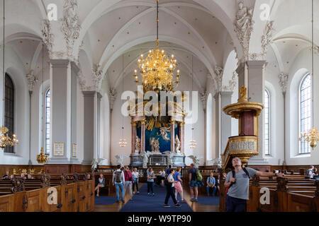 Copenhagen church - The nave and altar, Interior of the Church of Our Saviour; ( Vor Frelsers Kirke ), Christianshavn, Copenhagen Denmark - Stock Photo