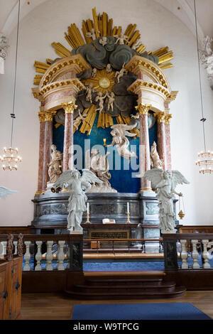 Copenhagen church - Interior of the Church of Our Saviour; ( Vor Frelsers Kirke ), with the ornate altar, Christianshavn, Copenhagen Denmark - Stock Photo