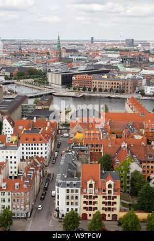 Copenhagen Denmark - skyline rooftop view from the spire of the Church of Our Saviour; Copenhagen city centre, Denmark, Scandinavia Europe - Stock Photo