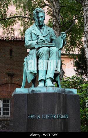 Soren Kierkegaard, Danish Philosopher, bronze sculpture, statue in the Royal Danish Library Garden, Copenhagen, Denmark Europe - Stock Photo