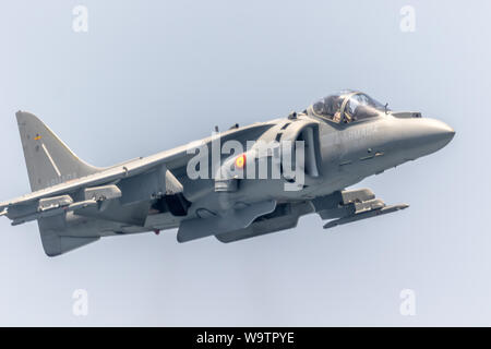 MOTRIL, GRANADA, SPAIN-JUN 11: Aircraft AV-8B Harrier Plus taking part in an exhibition on the 12th international airshow of Motril on Jun 11, 2017, i - Stock Photo