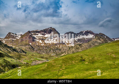 Anayet massif, over Tena Valley, Anayet National Preserve, view from A-136 road near Formigal, Huesca province, Aragon, Spain - Stock Photo