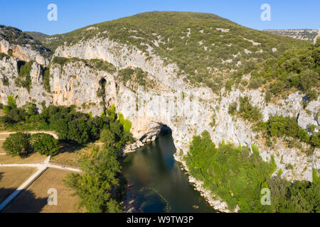Aerial view of Narural arch in Vallon Pont D'arc in Ardeche canyon in France - Stock Photo