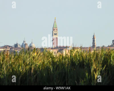 View of San Marco bell tower from Campalto's lagoon venice Italy - Stock Photo