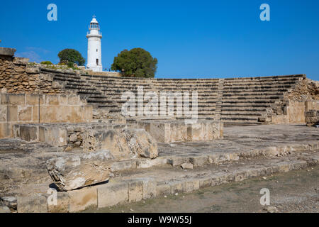 The Odeon and Lighthouse in Kato Pafos Archaeological Park, Paphos, Cyprus - Stock Photo