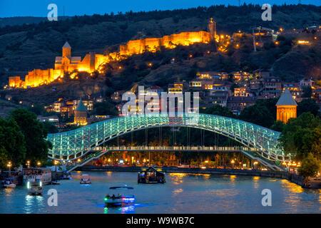 View of the old city of Tbilisi from Baratashvili Bridge, Tbilisi, Georgia - Stock Photo