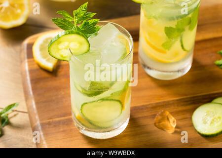 Homemade Cucumber Mint Lemonade in a Glass - Stock Photo