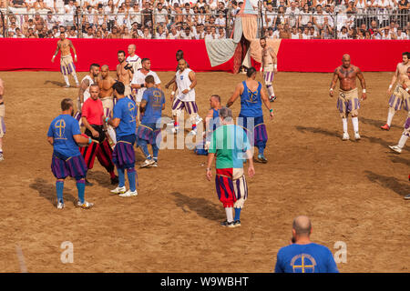 Calcio Storico in Florence, Italy. Also known as Calcio Fiorentino the game is thought to be an early form of modern day football that originated in t - Stock Photo