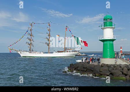 Mexican bark Cuauhtemoc leaving Hanse-Sail with sailors standing on the masts, Warnemünde, Rostock, Mecklenburg-West Pomerania, Germany - Stock Photo