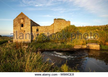 Derelict 19th Century water powered corn mill, Ham, Caithness, Scotland - Stock Photo
