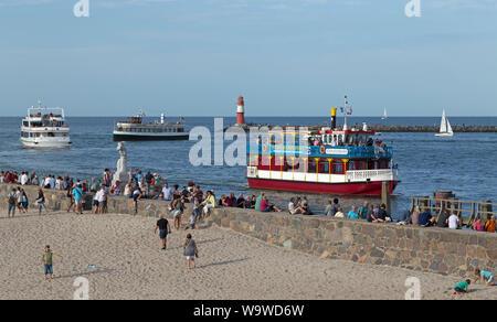 excursion boats on River Unterwarnow, Hanse-Sail, Warnemünde, Rostock, Mecklenburg-West Pomerania, Germany - Stock Photo