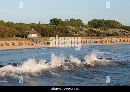 wind waves at the beach of Wustrow, Mecklenburg-West Pomerania, Germany - Stock Photo