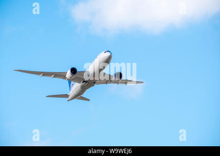 Boeing 787-8 Dreamliner jet taking off from Heathrow Airport, London, England, GB, UK - Stock Photo