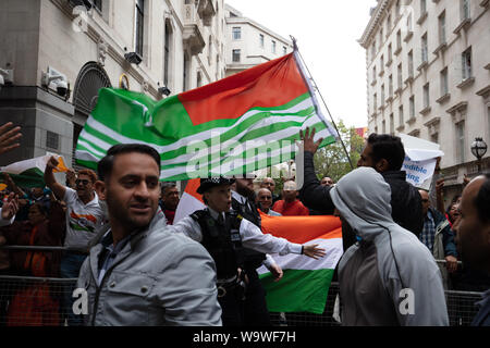 London, UK. 15th August, 2019. Kashmir protesters in front of India House in London, after its government scrapped the special constitutional status of Kashmir, clashing with India supporters. Credit: Joe Kuis / Alamy News - Stock Photo