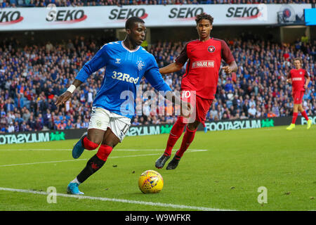 Glasgow, UK. 15th Aug, 2019. The third qualifying round of the UEFA EUROPA LEAGUE 2019/20 between Glasgow Rangers and FC Midtjylland was played at Ibrox stadium, Glasgow the home ground of Rangers who go into this round with a 4 -2 lead. Rangers won 3 -1 to go through to the next round. Credit: Findlay/Alamy Live News - Stock Photo