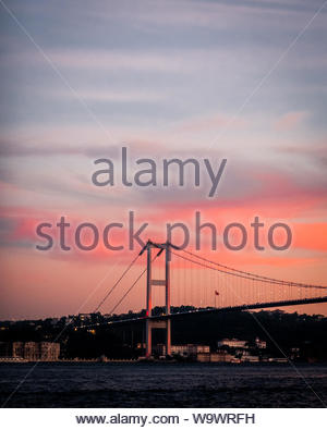 white and black bridge during golden hour - Stock Photo