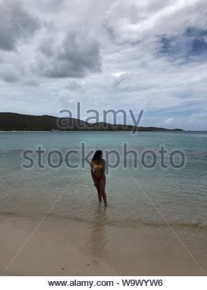 woman wearing bikini standing at the seashore - Stock Photo