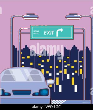car on the city road and exti board over pink background, colorful design. vector illustration - Stock Photo