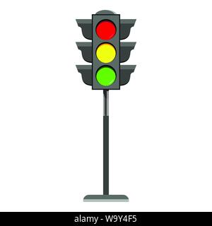 Standing traffic light flat design icon Typical horizontal traffic signals with red, yellow and green light. - Stock Photo