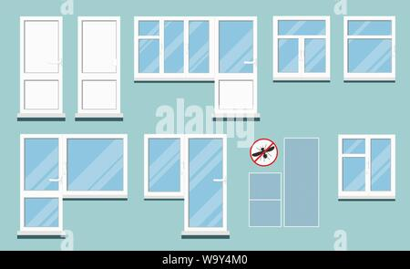 Set of isolated white plastic pvc room windows with handle. - Stock Photo