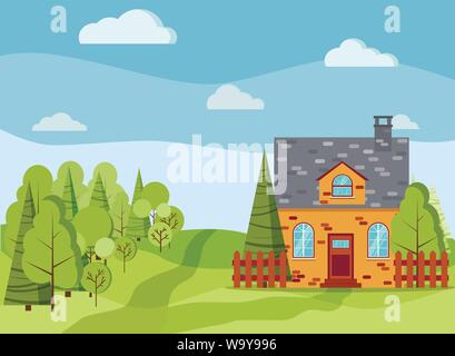 Spring or summer landscape with country brick farm house, green trees, spruces, fields, clouds - Stock Photo