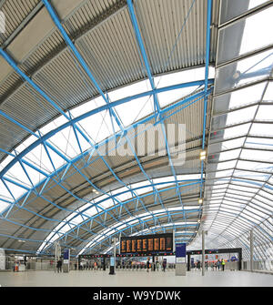 The old Eurostar terminal at London's Waterloo Station, UK, reopened in May 2019 as platforms 20-24 for Southwestern Railway local trains. - Stock Photo