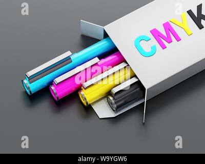 CMYK color pens inside white box. 3D illustration. - Stock Photo