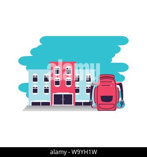 hotel building place with travel bag vector illustration design - Stock Photo