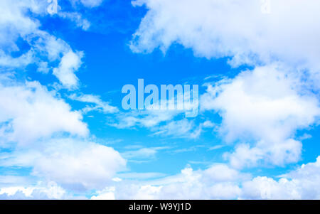 Vibrant Blue sky with clouds background with tiny clouds floating in the Sky in daylight. Natural sky composition. Tranquil Scene Tranquility Concept. - Stock Photo
