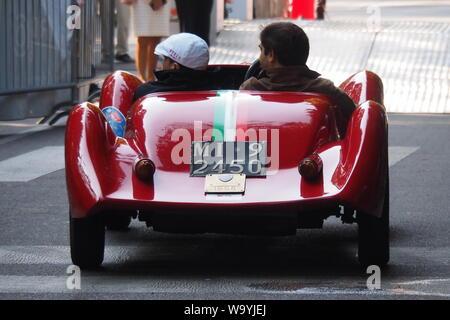 Milan, Italy: 26 September 2016: Parade of vintage car in Palestro, Milan, Lombardy, Italy - Stock Photo