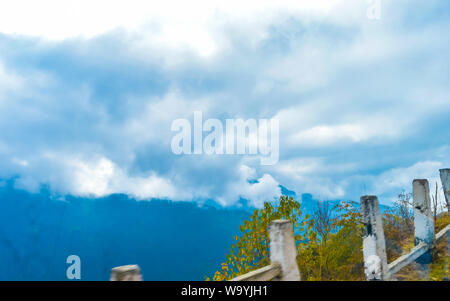 Vibrant storm clouds background with tiny clouds floating in the Sky in sunset time. Natural sky composition. Tranquil Scene Tranquility Concept. Seas - Stock Photo