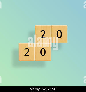 The year 2020 on floating wooden tiles against green to blue gradient background, minimal design - Stock Photo