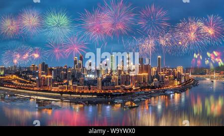 Chongqing yuan snack fireworks - Stock Photo