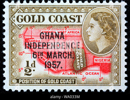 Ghana independence, postage stamp, Gold coast, Chana, 1967 - Stock Photo