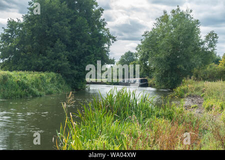 A view looking down The River Kennet at Reading, Berkshire. - Stock Photo