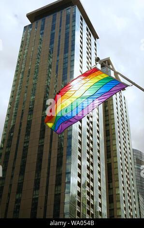 Montreal,Quebec,Canada,August 14,2019.Pride flag blowing in the wind in downtown Montreal,Quebec,Canada.Credit:Mario Beauregard/Alamy News - Stock Photo