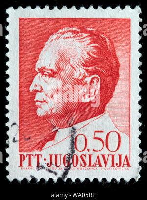 Marshal Josip Broz Tito (1892-1980), postage stamp, Yugoslavia, 1968 - Stock Photo
