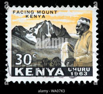 Jomo Kenyatta in front of Mount Kenya, postage stamp, Kenya, 1963 - Stock Photo