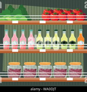 store wooden shelving with juices bottled and fresh foods vector illustration design - Stock Photo