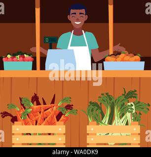salesman with stall kiosk of store vegetables and fruits