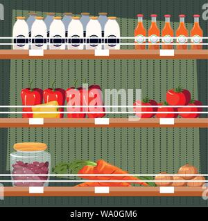 store wooden shelving with vegetables and bottled juices vector illustration design - Stock Photo