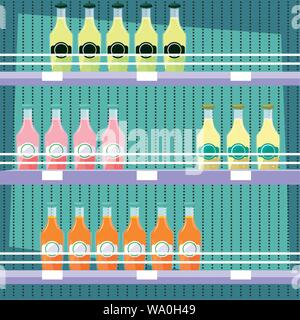 store wooden shelving with bottled juices vector illustration design - Stock Photo