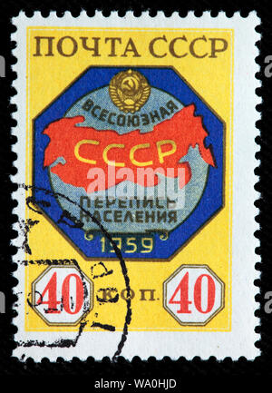 All-Union Census, postage stamp, Russia, USSR, 1959 - Stock Photo