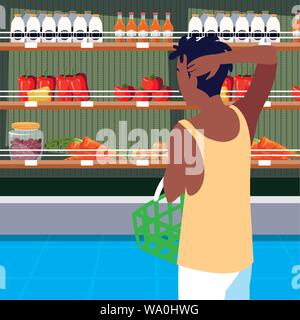 buyer with store wooden shelving with vegetables vector illustration design - Stock Photo