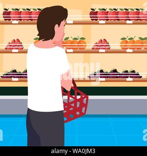 buyer with store wooden shelving with fresh fruits vector illustration design - Stock Photo