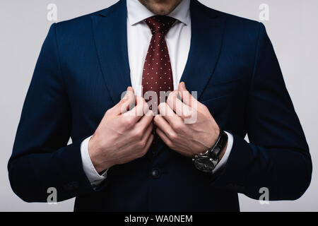 cropped view of confident businessman touching suit isolated on grey - Stock Photo