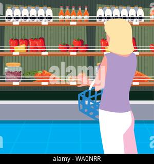 buyer female with store wooden shelving with vegetables vector illustration design - Stock Photo