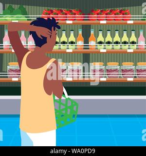 buyer with store wooden shelving and fresh foods vector illustration design - Stock Photo