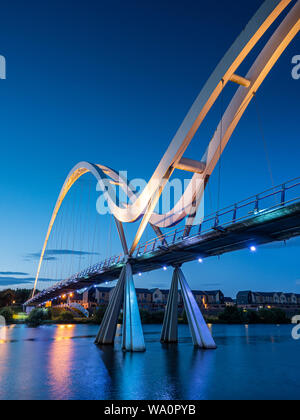 The Infinity Bridge, Stockton on Tees. England. A public pedestrian and cycle footbridge across the River Tees Stock Photo